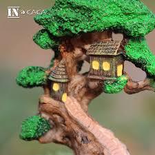 resin house tree micro landscape garden miniature decor
