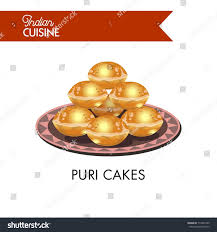 puri cakes on plate ornament isolated stock vector 713490109