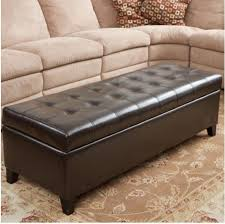 round leather storage ottoman solid wood legs grey wall paint