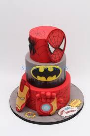 superhero cake ironman batman spiderman cake by starry
