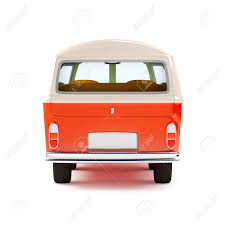 cartoon car back retro travel van in cartoon style back view isolated on white