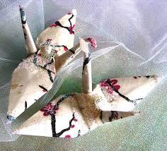 Origami Wedding Cake - wedding cake topper cherry blossom peace crane favor origami