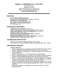 Sample Resume Objectives Psychology by Speech Language Pathology Resume Objective Youtuf Com