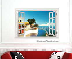 Decorative Window Decals For Home Mediterranean Window View Removable Wall Stickers Fake Window Wall