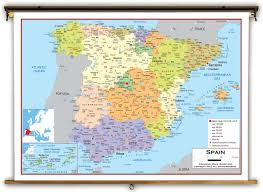 Spain Map Spain Political Educational Wall Map From Academia Maps