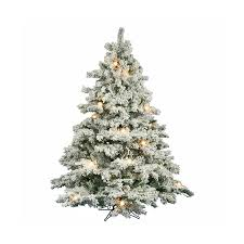 White Christmas Tree With Black Decorations Shop Vickerman 6 5 Ft 1045 Count Pre Lit Alaskan Pine Flocked