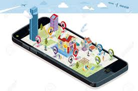 Map With Pins City Map With Gps Services Icons Smartphone On It Screen A