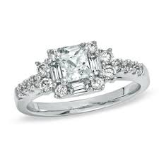princess cut engagement rings zales 1 ct t w princess cut engagement ring in 14k white gold