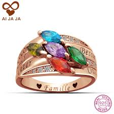 online get cheap custom engraving ring women aliexpress aijaja custom family names engraved birthstones rings for women personalized sterling silver marquise zircons