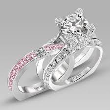 interlocking engagement ring wedding band pink diamond wedding ring set pink wedding rings on pink