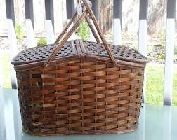 picnic baskets for two vintage picnic basket etsy