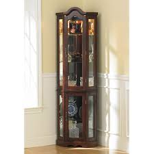 furniture brown wooden corner display cabinet with glass door