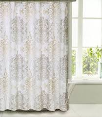 White Shower Curtains Fabric Amazon Com Tahari Fabric Shower Curtain Beige And Gray Paisley