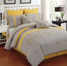 Grey And Yellow Comforters Bedroom Black Stained Wooden King Size Bed With Yellow And Grey