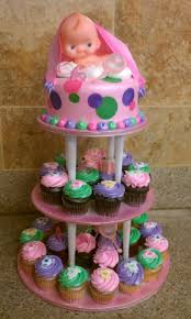 cupcake cakes for baby showers baby shower dots cake and cupcakes