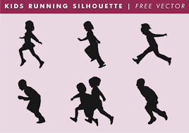 free silhouette images kids running silhouette free vector download free vector art