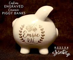 engraved piggy bank engraved piggy bank with free custom design large ceramic bank is