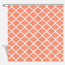 Coral And Grey Shower Curtain Coral Shower Curtains Cafepress