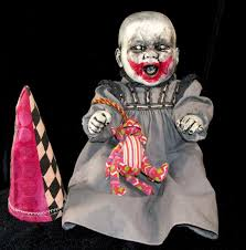 Scary Baby Doll Halloween Costume Clown Baby Horror Prop Creepy Altered Art Doll Dark Circus Gothic