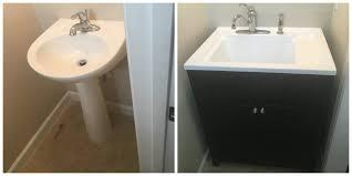 Install Bathroom Vanity Sink Replace Pedestal Sink With Vanity Befon For
