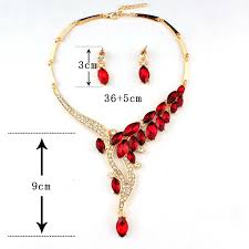 red crystal necklace set images Trendy red crystal necklace and earrings shopping ridge jpg