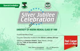 Silver Jubilee Card Invitation Sliver Jubilee Celebration Unn Medical Class 1990 University Of