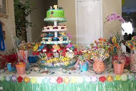 hawaiian luau dessert display and candy buffet for a 7 year old