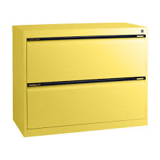 Yellow Storage Cabinet 2 Drawer Wood Lateral File Cabinet With Lock Decorative File