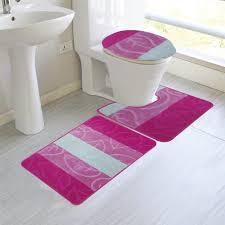haley 3 piece mega size bathroom mat set leaf design