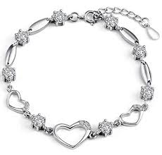 sterling silver bracelet with heart images Sterling silver bracelet women heart hand chain jpg