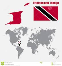 Trinidad And Tobago Map Trinidad And Tobago Map On A World Map With Flag And Map Pointer