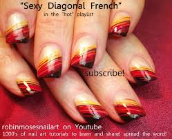 easy fall nail for beginners diagonal nail design