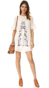 free people perfectly victorian embroidered mini dress cream women