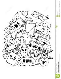 travel doodles coloring pages for kids stock vector image