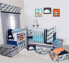 Nursery In A Bag Crib Bedding Set Bacati Liam Aztec Aqua Orange Navy 10 Pc Crib Set With 2 Crib