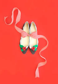 novelty christmas figgy pudding flats damask love