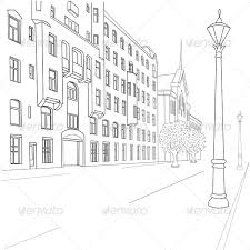 outline sketch of european city street by prikhnenko graphicriver