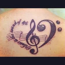 notes with symbols tattoos chest design idea for and