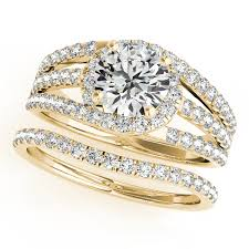 yellow gold bridal sets band diamond engagement ring bridal set 14k yellow gold 2 33ct