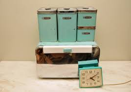vintage turquoise metal kitchen canister set with breadbox and