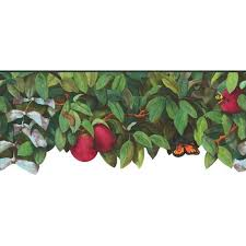 discount wallcovering apple tree insects die cut border bmt058