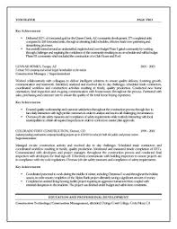 Project Manager Resume Skills Resume by Sample Construction Project Manager Resume Free Resume Example