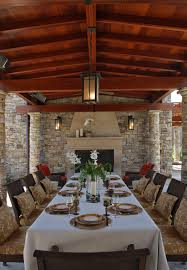 patio column lights dining room cozy table decorations for thanksgiving dinner with