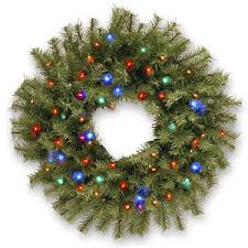 holiday time pre lit 18 christmas garland multi lights fingerhut wreaths garland