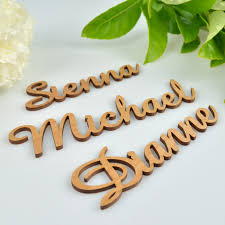 wooden laser cut name placecards personalized favors