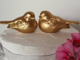 birds wedding cake toppers cake topper birds in gold