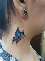 beautiful butterfly on side neck by kdz tattoos