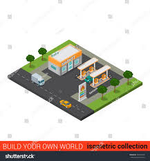 Gas Station Floor Plans Flat 3d Isometric Highway Gas Petroleum Stock Vector 323902478