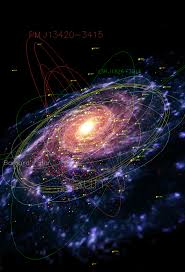 Map Of Universe A Map Of The Milky Way Showing Pulsars Red Planetary Nebulae