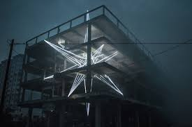led light installation near me studio oblique the star massive 4 story led star light